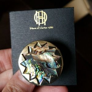 New House Of Harlow 1960 Sunburst Abalone Ring